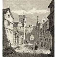 The North Gate And Bocardo Prison Oxford England Where Latimer Ridley And Cranmer Were Held In The 1550S Before Being Executed From The Book Of Martyrs By John Foxe Published C1865 Canvas Art - Ken We
