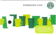 """Green Cups (UK) - This """"core"""" Card, was released in August 2010 for the United Kingdom. It's called """"Green Cups"""" and should be readily available for a couple years, as most """"core"""" issues seem to last about that long. Starbucks Rewards, Green Cups, United Kingdom, Core, Illustration, England, Illustrations"""