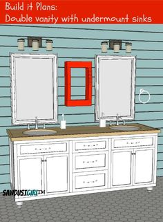 bathroom vanity - free and easy plans from https://sawdustgirl.com.