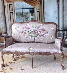 Silk Grey French Settee by MaritzaMiniatures on Etsy