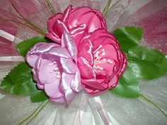 Бутоньерка на свадьбу. Свадьба в цвете Фуксии. Часть 2. / /Ribbon Flower...