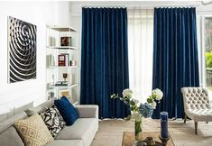 [New] The 10 Best Home Decor Today (with Pictures) Dark Blue Curtains, Blue Curtains Living Room, Blue Living Room Decor, Living Room Colors, Home Living Room, Living Room Designs, Navy Curtains, Window Treatments Living Room Curtains, Window Coverings
