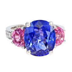 7.10 Carat Ceylon Sapphire and Pink Sapphire Three Stone Ring