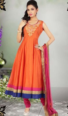Turn heads in this orange chanderi silk Anarkali churidar suit. The wonderful lace and resham work a substantial element of this dress. #StylishEveningSuit