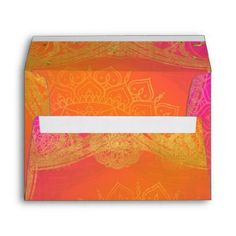 Fuchsia Pink Orange Gold Indian Mandala Wedding Envelope - birthday gifts party celebration custom gift ideas diy