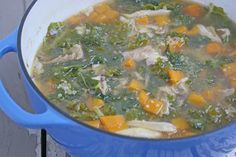 Heavenly filling healthy soup for Fall, via~Not Just Baked~Quinoa Kale Butternut Squash Chicken Soup.