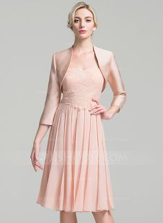 A-Line/Princess Sweetheart Knee-Length Pleated Zipper Up Strapless Sleeveless Yes Other Colors General Plus Chiffon Mother of the Bride Dress
