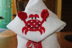Red Crab Hooded Bath Towel. $25.00, via Etsy.