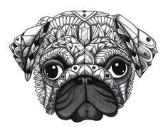 Ornate design of a Pug Dog