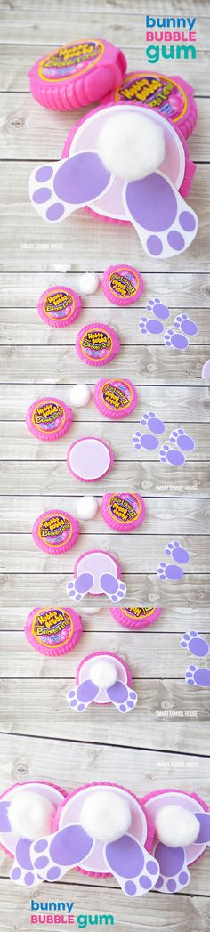 How to make Bunny Bubble Gum using Bubble Tape Gum. A cute DIY Easter gift idea