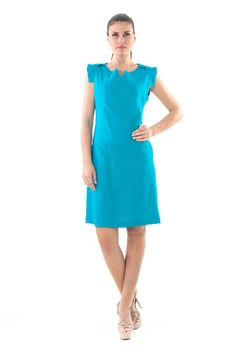 Think out of the box this season and slip into something different with this unusual shift dress from Conquista. Cut to lightly skim the silhouette while the ta V Cuts, Outlet, Dress Making, Cool Style, High Neck Dress, Dresses For Work, Womens Fashion, Model, How To Wear