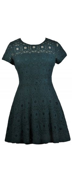 Lily Boutique A-Line Up Lace Dress in Emerald Green- Plus Size, $38 Cute Plus Size Dress, Plus Size Holiday Party Dress, Plus Size Green Lace Dress www.lilyboutique.com