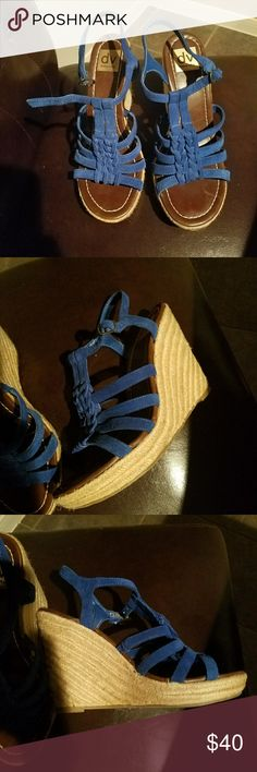 Dolce Vita suede strappy wedges Blue suede strappy wedges buckle on the side straw wedges Dolce Vita Shoes Wedges
