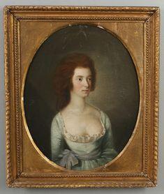 OIDENTIFIERAD KONSTNÄR. Olja på duk, kvinnoporträtt, 1700-talets senare del.