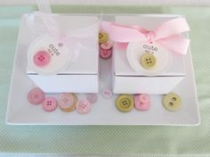 Cute As a Button Baby Shower #decor #favors #pink #green #pastel