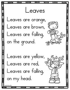 15 Fall Sight Word Poems For Shared Reading In
