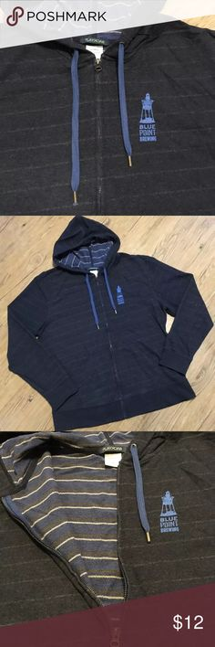 Craft Beer Zip Hoodie Diagonal gray striped zip hoodie sweatshirt with blue and tan striped lining. Features logo from Blue Point Brewing out of Long Island New York on both the front left side and the back. Cotton poly blend. Tops Sweatshirts & Hoodies
