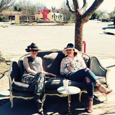 #TBT To that first sunny Saturday  @marlacookhats and I pulled the sofa out to the sidewalk  #betsykingshoes #marlacookhats #paseoartsdistrict #funtimes #perfectpair