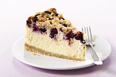 It's the best of both worlds: a dense, creamy filling of cheesecake along with a blueberry streusel crumble crust and topping.