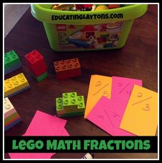 lego math fractions--my boy would love this!  It uses duplo size for easy counting, but will work with regular legos