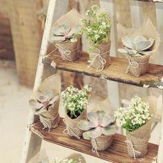 O que acha de usar plantinhas na decoração do seu casamento?! Compre vasinhos pequenos da planta que preferir, embrulhe com juta e dê um laço com barbante. Tá pronto! ❤️