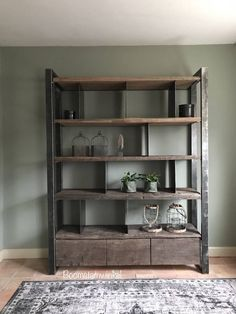 ≥ Industrial cupboard made of wood and steel industrial cupboard cupboards - Cabinets Built In Furniture, Metal Furniture, Cool Furniture, Living Room Furniture, Living Room Decor, Furniture Design, Home And Living, Small Living, Rack Tv