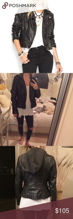 Free people hooded leather jacket Hooded leather jacket. Worn before but looks brand new and goes great with any outfit :) Free People Jackets & Coats