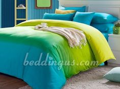 green comforter sets  | Blue and Green Striped 4ps Cotton Bedding Set - Boys Bedding - Modern ...