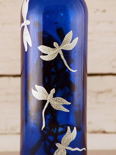 Blue and white dragonfly wine bottle lamp hand painted