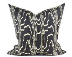 "Kelly Wearstler AGATE Designer Pillow Cover in Ebony & Beige Lee Jofa Groundworks Lumbars and  18"", 20"", 22"", 24"" sq."