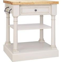 30 in. Traditional Kitchen Island in Vanilla with Brown Glaze