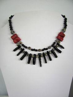 sponge & black coral, dalmatian jasper & lava necklace in my Breslo shop -colier coral , jasp dalmatian si lava