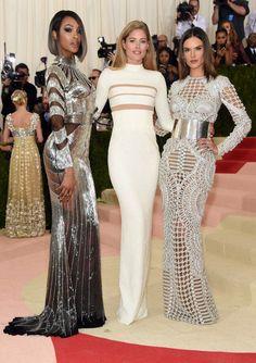 At the 2016 MET gala, Jourdan Dunn, Doutzen & Alessandra in custom-made Balmain gowns.