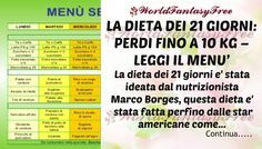 LA DIETA DEI 21 GIORNI: PERDI FINO A 10 KG – LEGGI IL MENU' La dieta dei 21 giorni è stata ideata dal nutrizionista Marco Borges,questa dieta è stata fatta Periodic Table, Medicine, Health Fitness, Menu, Healthy, Pizza, Weights, Bricolage, Menu Board Design