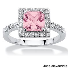 Palm Beach Jewelry PalmBeach Princess-Cut Birthstone Halo Ring in .925 Sterling Silver Color Fun (Size