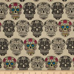 Calavera Cream/Multi from @fabricdotcom  From David Textiles, this cotton print fabric is perfect for quilting, apparel and home décor accents. Colors include tan, black, pink, green, blue, yellow, and orange.
