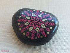 Smaller Hand Painted Alchemy Stone with Red & Gold Geometric Starburst Mandala Design