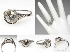 1930'S art deco european cut diamond ring