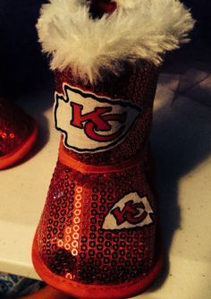 Loley pops creations Kansas City Chiefs baby boots fits 9-12 months
