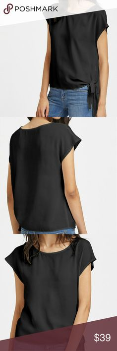 🌿🌿 SIDE TIE BLOUSE🌿🌿 🌿PRICE FIRM!🌿5% OFF ON BUNDLES OF 2+ ITEMS! 🌿  BLACK CAP SLEEVED SIDE TIE BLOUSE. FITS TRUE TO SIZE. FABRIC IS 💯 POLYESTER AND HAS NO STRETCH. Tops