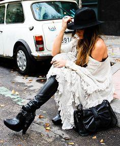 mes demoiselles dress, bershka pants, phillip lim bag, sam edelman boots, claires gloves, el corte ingles hat, sandra palomar earrings. 11/22/11