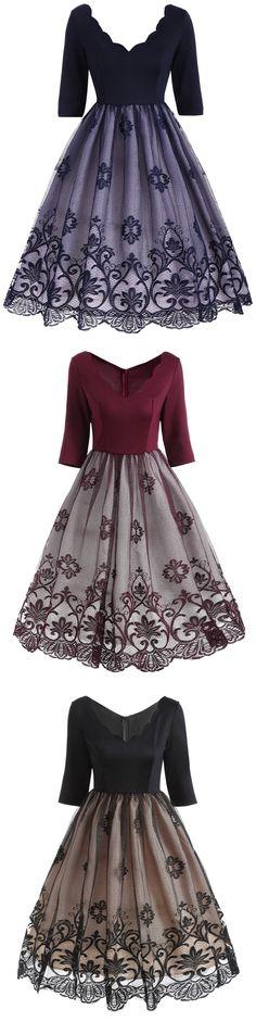V Neck Vintage Dress | Only $16.43 | Floral Lace Panel V Neck Vintage Dress | Sammydress.com
