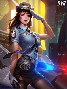 Officer D.va by Liang-Xing.deviantart.com on @DeviantArt - More at https://pinterest.com/supergirlsart #dva #police #sexy #cute #overwatch #fanart