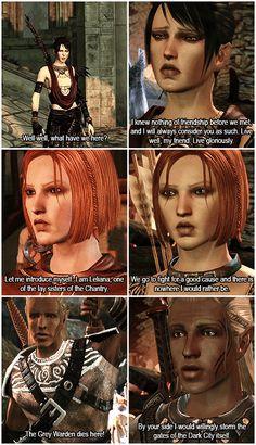 Dragon Age: Origins; Morrigan, Leliana, and Zevran. Greetings and Goodbyes