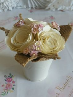 Super cute pot posy fab wedding table centerpiece decoration for trestle tables. Origami kusudama paper flower alternative avoid hay fever ivory cream cherry blossom pink first anniversary gift ideas for your big day  wedding trend.