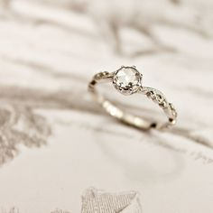 Image of platinum 5mm rose cut diamond ring {floral carved}