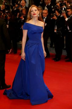 Jessica Chastain was absolutely regal in a cobalt blue Atelier Versace gown with one cap sleeve and a full train looking sensational on the red carpet of the 2014 Cannes Film Festival! #VersaceCelebrities