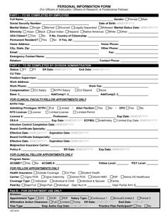 A Form On Which A Human Resources Department Or Employer Can Keep