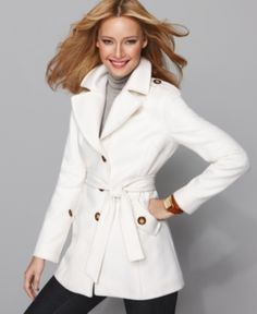 Michael Kors Notched Collar Wool Trench