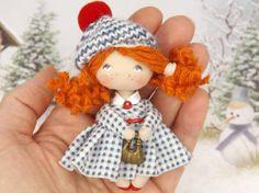 Little OOAK collectible dollhouse miniature doll birthday